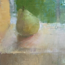 a painting of a bartlett pear on a table