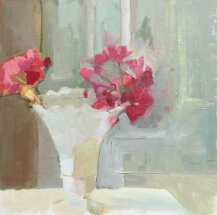 a painting of red geraniums in a milk vase
