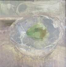 a painting of a pear in a bowl