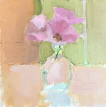 pink lisianthus in vase