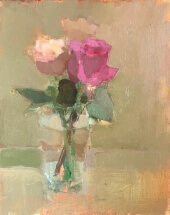 oil painting of pink and peach rose in clear glass jar