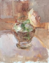 oil painting of peach colored rose in clear glass vase