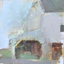 oil painting of white barn in Newtown, PA