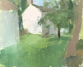 oil painting of white house in Washington Crossing, PA