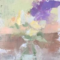 oil painting of purple wisteria in jar