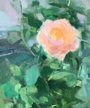 oil painting of a peach colored rose