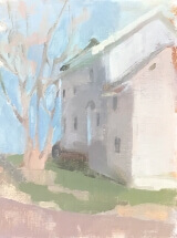 oil painting of white house with blue sky and bare tree