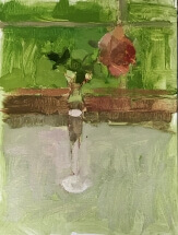 oil painting of pink rose in clear glass bud vase