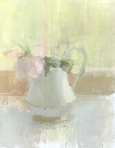 oil painting of pale pink rose in white porcelain pitcher