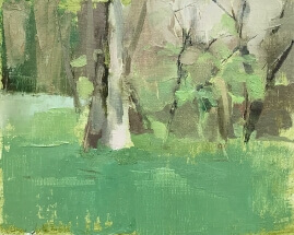 oil painting of trees and green foliage and grass