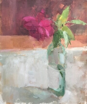 oil painting of red rose in antique bottle