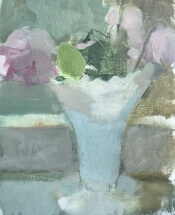 oil painting of white milk glass vase with pink rose