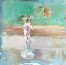 oil painting of pink rose in crystal bud vase