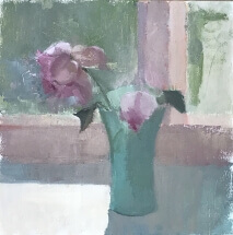 oil painting of pink rose in green jadite vase