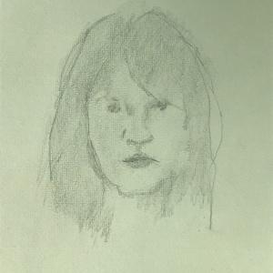 graphite drawing, self portrait