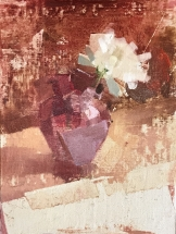 oil painting of white flower in red glass vase