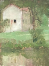 """white barn, rainy day (9x12"""" (available)"""